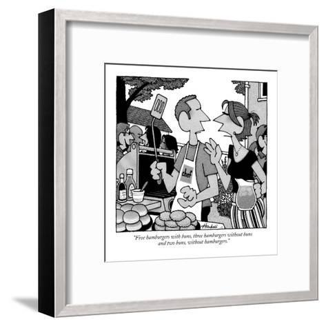 """Five hamburgers with buns, three hamburgers without buns and two buns, wi?"" - New Yorker Cartoon-William Haefeli-Framed Art Print"
