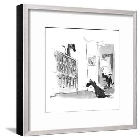 Dog trying to bring slippers to master looks pleadingly at cat who has the? - New Yorker Cartoon-James Stevenson-Framed Art Print