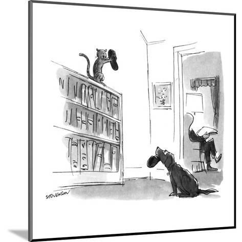 Dog trying to bring slippers to master looks pleadingly at cat who has the? - New Yorker Cartoon-James Stevenson-Mounted Premium Giclee Print