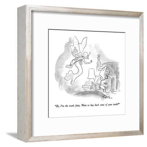 """""""Hi, I'm the tooth fairy.  Want to buy back some of your teeth?"""" - New Yorker Cartoon-Edward Frascino-Framed Art Print"""