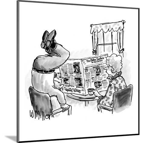 Woman reads N.Y. Times at table as husband stands on head to read the upsi? - New Yorker Cartoon-Warren Miller-Mounted Premium Giclee Print