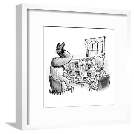 Woman reads N.Y. Times at table as husband stands on head to read the upsi? - New Yorker Cartoon-Warren Miller-Framed Art Print