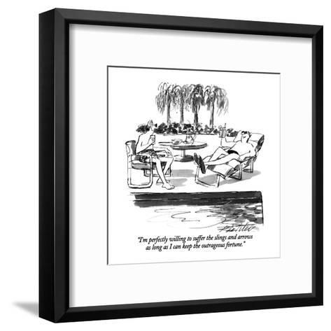 """""""I'm perfectly willing to suffer the slings and arrows as long as I can ke?"""" - New Yorker Cartoon-Mischa Richter-Framed Art Print"""