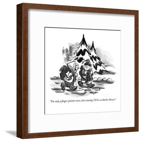 """I'm only a finger-pointer now, but someday I'll be a whistle-blower."" - New Yorker Cartoon-Lee Lorenz-Framed Art Print"