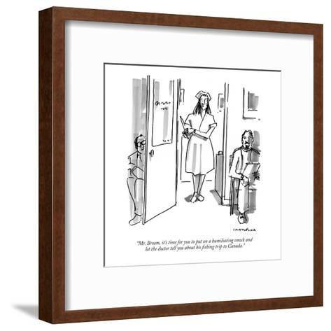 """Mr. Bream, it's time for you to put on a humiliating smock and let the do?"" - New Yorker Cartoon-Michael Crawford-Framed Art Print"
