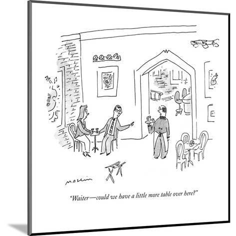 """""""Waiter?could we have a little more table over here?"""" - New Yorker Cartoon-Michael Maslin-Mounted Premium Giclee Print"""