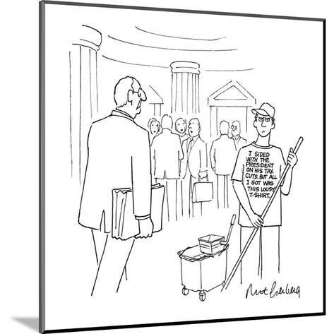 Congressional employee mopping the hall wears a T-shirt that reads, 'I Sid? - New Yorker Cartoon-Mort Gerberg-Mounted Premium Giclee Print