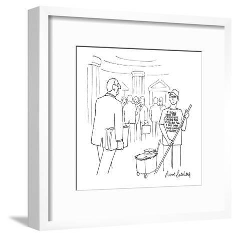 Congressional employee mopping the hall wears a T-shirt that reads, 'I Sid? - New Yorker Cartoon-Mort Gerberg-Framed Art Print