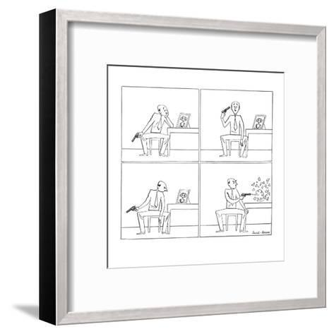 Man with gun looks at girl's picture, considers shooting himself but shoot? - New Yorker Cartoon-Leonard Dove-Framed Art Print