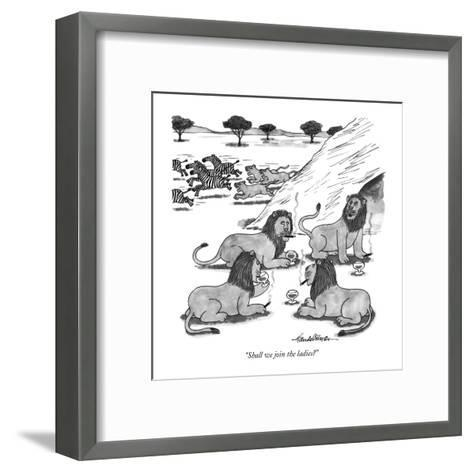 """Shall we join the ladies?"" - New Yorker Cartoon-J.B. Handelsman-Framed Art Print"