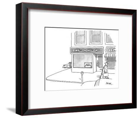"Man walks by a storefront with a sign reading ""DRINK 'N' SMOKE 'N' SHOOT"" ? - New Yorker Cartoon-Jack Ziegler-Framed Art Print"