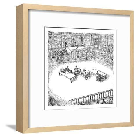 Two people sit on a modern-looking curved bench in the middle of a court-room. - New Yorker Cartoon-John O'brien-Framed Art Print