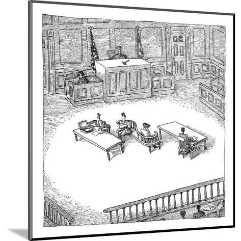 Two people sit on a modern-looking curved bench in the middle of a court-room. - New Yorker Cartoon-John O'brien-Mounted Premium Giclee Print