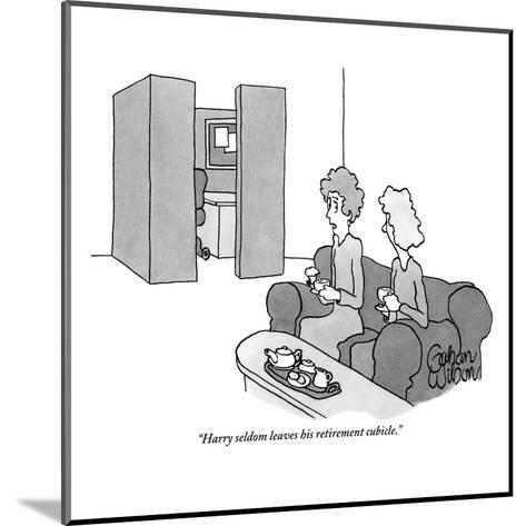 """Harry seldom leaves his retirement cubicle."" - New Yorker Cartoon-Gahan Wilson-Mounted Premium Giclee Print"