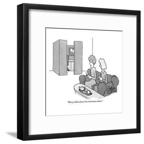 """Harry seldom leaves his retirement cubicle."" - New Yorker Cartoon-Gahan Wilson-Framed Art Print"
