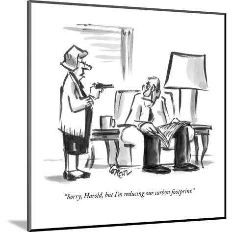 """""""Sorry, Harold, but I'm reducing our carbon footprint."""" - New Yorker Cartoon-Lee Lorenz-Mounted Premium Giclee Print"""