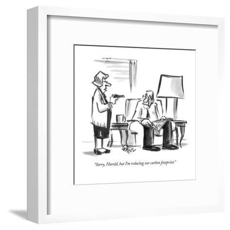 """Sorry, Harold, but I'm reducing our carbon footprint."" - New Yorker Cartoon-Lee Lorenz-Framed Art Print"