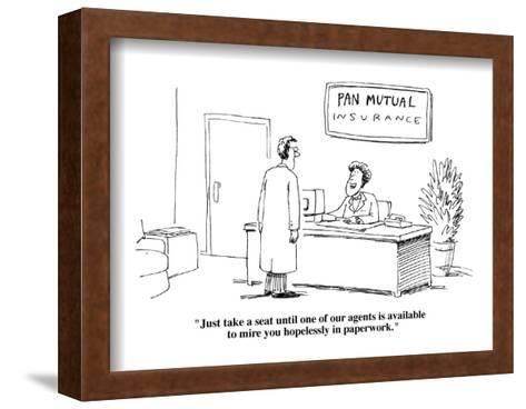 """""""Just take a seat until one of our agents is available to mire you hopelessl?"""" - Cartoon-Joe Dator-Framed Art Print"""