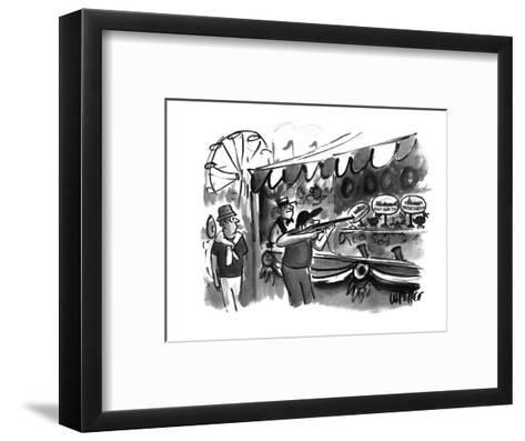 The guy shooting various targets at a booth in a carnival - New Yorker Cartoon-Warren Miller-Framed Art Print