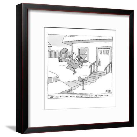 """My new electric head-warmer surprises me every time"" - New Yorker Cartoon-Jack Ziegler-Framed Art Print"