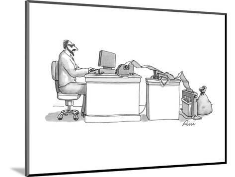 Writer typing into computer; paper is coming out of printer and going into? - New Yorker Cartoon-J.P. Rini-Mounted Premium Giclee Print