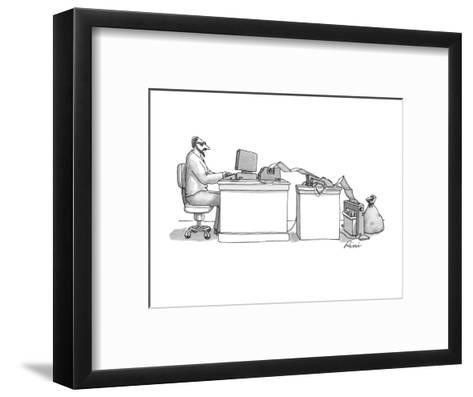 Writer typing into computer; paper is coming out of printer and going into? - New Yorker Cartoon-J.P. Rini-Framed Art Print