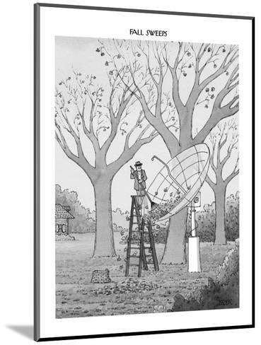 Man in suburban yard rakes leaves out of huge satellite dish. - New Yorker Cartoon-Jack Ziegler-Mounted Premium Giclee Print