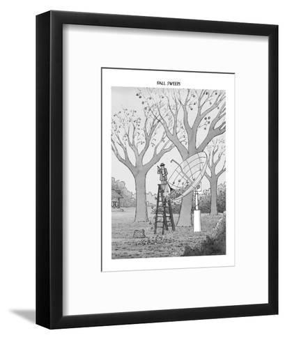 Man in suburban yard rakes leaves out of huge satellite dish. - New Yorker Cartoon-Jack Ziegler-Framed Art Print