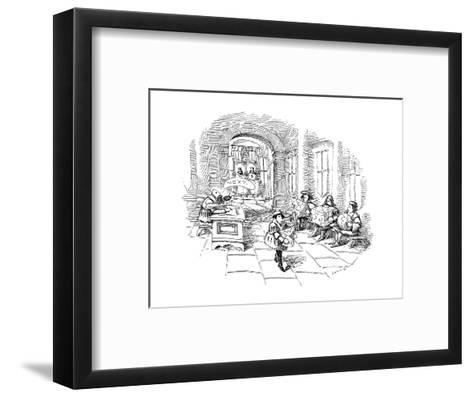Several men sit in line at a sort of medieval patent office in a royal cou? - New Yorker Cartoon-John O'brien-Framed Art Print