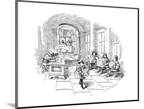 Several men sit in line at a sort of medieval patent office in a royal cou? - New Yorker Cartoon-John O'brien-Mounted Premium Giclee Print