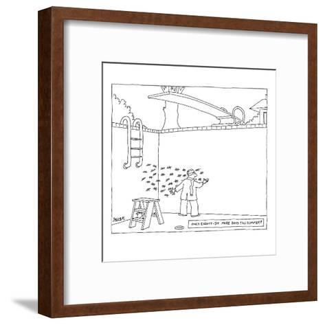 Man in wool cap and scarf making tally marks in his empty pool. - New Yorker Cartoon-Jack Ziegler-Framed Art Print