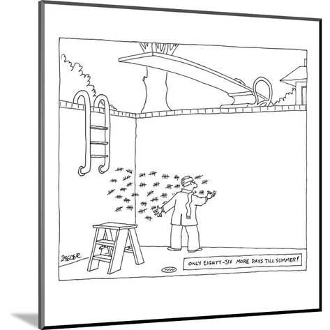 Man in wool cap and scarf making tally marks in his empty pool. - New Yorker Cartoon-Jack Ziegler-Mounted Premium Giclee Print