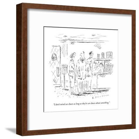 """""""I don't mind car chases as long as they're car chases about something."""" - New Yorker Cartoon-Barbara Smaller-Framed Art Print"""