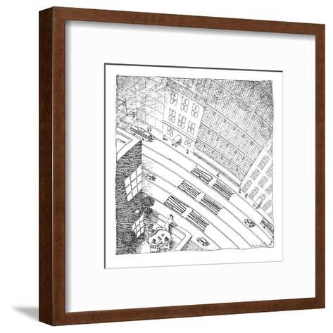 An overhead shot of a street reveals three lanes reserved for the police, ? - New Yorker Cartoon-John O'brien-Framed Art Print