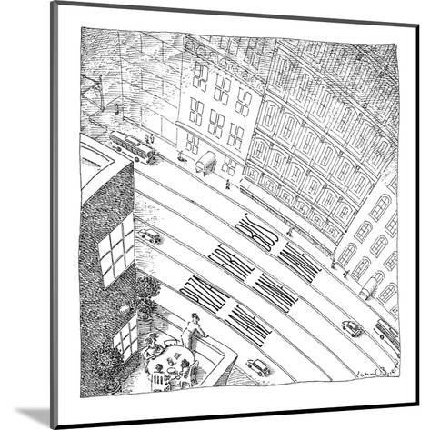 An overhead shot of a street reveals three lanes reserved for the police, ? - New Yorker Cartoon-John O'brien-Mounted Premium Giclee Print