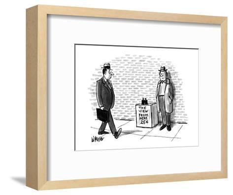 Street vendor selling 'The View From Here, 25cents'. - New Yorker Cartoon-Warren Miller-Framed Art Print