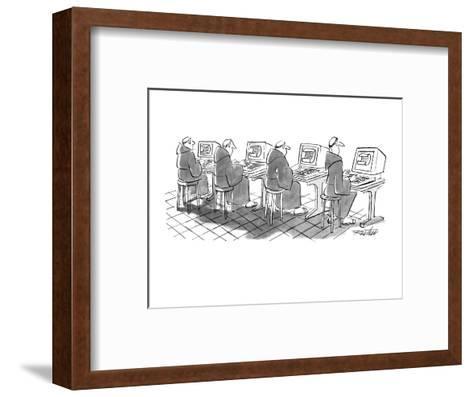 Four monks sit at computer terminals. Parchment scrolls appear on the screens. - New Yorker Cartoon-Mischa Richter-Framed Art Print