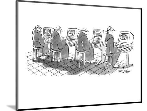 Four monks sit at computer terminals. Parchment scrolls appear on the screens. - New Yorker Cartoon-Mischa Richter-Mounted Premium Giclee Print