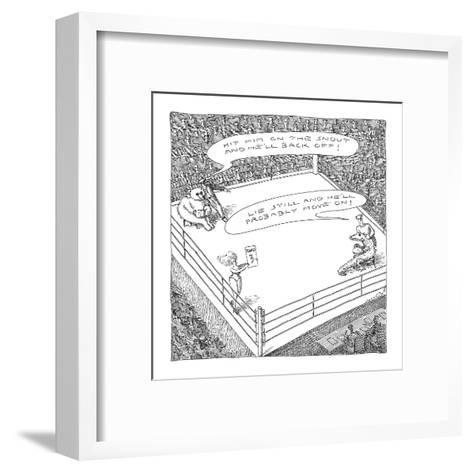 A bear and an alligator in a boxing ring getting advice on the other's nat? - New Yorker Cartoon-John O'brien-Framed Art Print