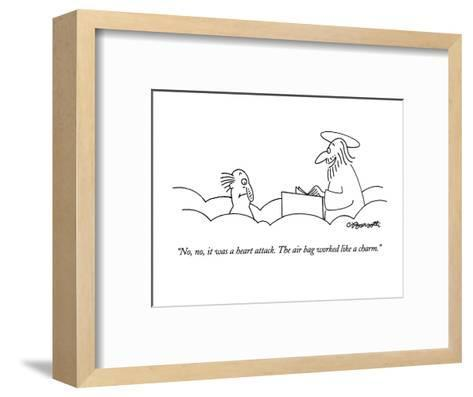 """""""No, no, it was a heart attack.  The air bag worked like a charm."""" - New Yorker Cartoon-Charles Barsotti-Framed Art Print"""