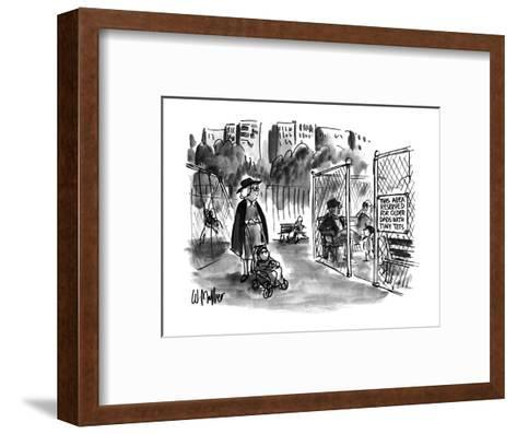 Sign on playgrownd gate says 'THIS AREA RESERVED FOR OLDER DADS WITH TINY ? - New Yorker Cartoon-Warren Miller-Framed Art Print