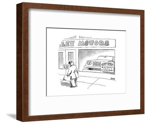 Man walks by car dealership, a sign in the window reads, 'NOW ONLY $14,999? - New Yorker Cartoon-Jack Ziegler-Framed Art Print