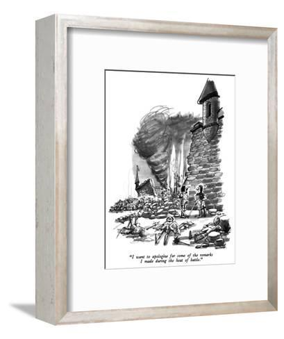 """""""I want to apologize for some of the remarks I made during the heat of bat?"""" - New Yorker Cartoon-Dana Fradon-Framed Art Print"""