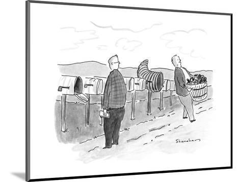 Row of mailboxes, one of which is a cornucopia.  Man walking away with a b? - New Yorker Cartoon-Danny Shanahan-Mounted Premium Giclee Print