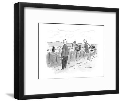 Row of mailboxes, one of which is a cornucopia.  Man walking away with a b? - New Yorker Cartoon-Danny Shanahan-Framed Art Print