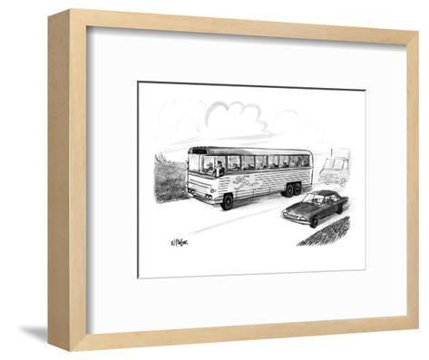 Bus filled with Greyhound dogs, with the logo of a running man. - New Yorker Cartoon-Warren Miller-Framed Art Print