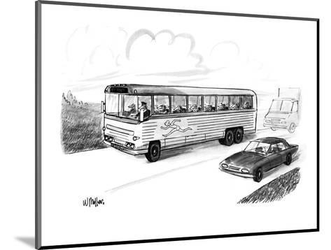 Bus filled with Greyhound dogs, with the logo of a running man. - New Yorker Cartoon-Warren Miller-Mounted Premium Giclee Print