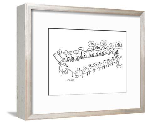 Executive at end of conference table says 'no' and, as the message is pass? - New Yorker Cartoon-Jack Ziegler-Framed Art Print