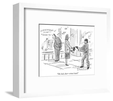 """""""Oh, look, dear?crime's back!"""" - New Yorker Cartoon-Danny Shanahan-Framed Art Print"""