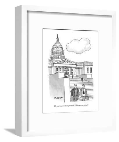 """Do your owners treat you well?  Mine are very kind."" - New Yorker Cartoon-J.B. Handelsman-Framed Art Print"